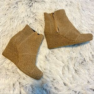 Leopard Print Faux Suede Wedge Booties TOMS